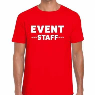 Personeel t-shirt rood met event staff bedrukking voor heren prijs
