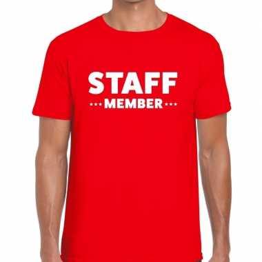 Personeel t-shirt rood met staff member bedrukking voor heren prijs