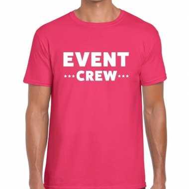 Personeel t-shirt roze met event crew bedrukking voor heren prijs