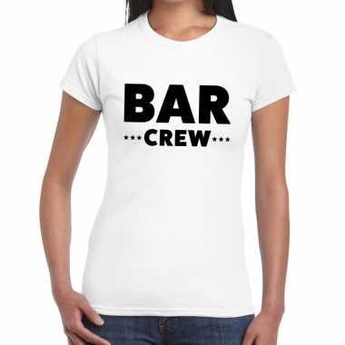 Personeel t-shirt wit met bar crew bedrukking voor dames prijs