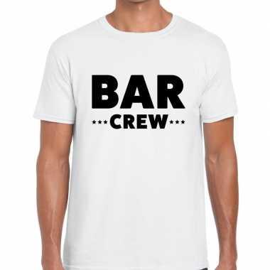 Personeel t-shirt wit met bar crew bedrukking voor heren prijs
