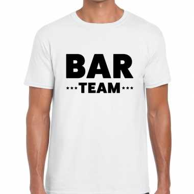 Personeel t-shirt wit met bar team bedrukking voor heren prijs