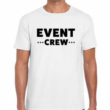 Personeel t-shirt wit met event crew bedrukking voor heren prijs
