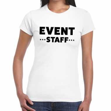 Personeel t-shirt wit met event staff bedrukking voor dames prijs