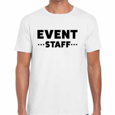 Personeel t-shirt wit met event staff bedrukking voor heren prijs