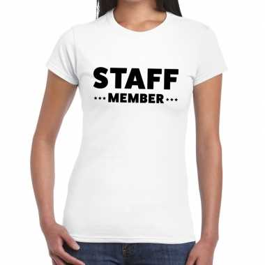 Personeel t-shirt wit met staff member bedrukking voor dames prijs