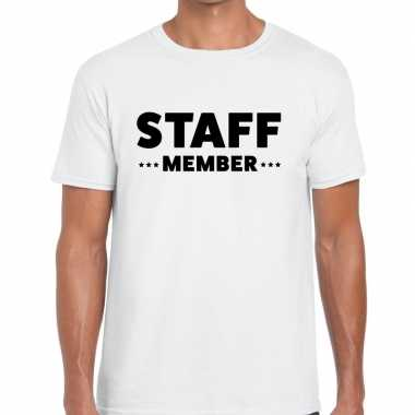 Personeel t-shirt wit met staff member bedrukking voor heren prijs