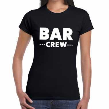 Personeel t-shirt zwart met bar crew bedrukking voor dames prijs