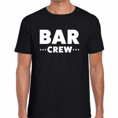 Personeel t-shirt zwart met bar crew bedrukking voor heren prijs