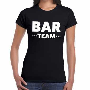 Personeel t-shirt zwart met bar team bedrukking voor dames prijs