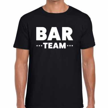 Personeel t-shirt zwart met bar team bedrukking voor heren prijs