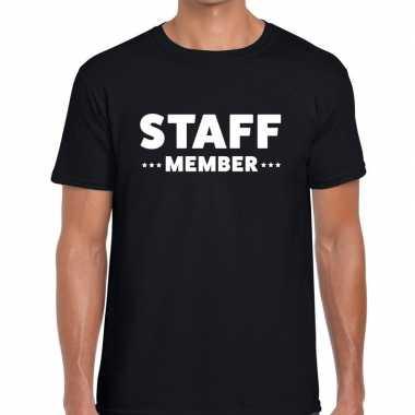 Personeel t-shirt zwart met staff member bedrukking voor heren prijs