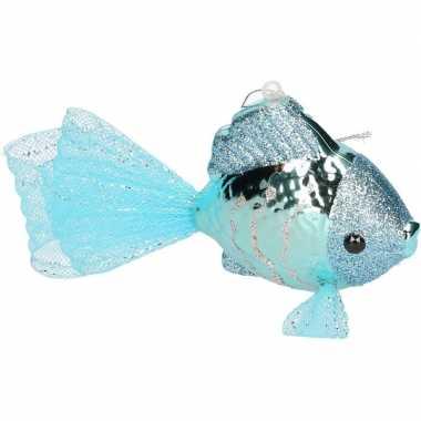 Petrol blauwe vis kerstornamenten kersthangers 8 cm prijs