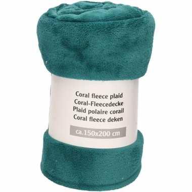 Petrol groene warme fleece deken/plaid 150 x 200 cm prijs