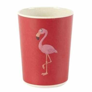 Peuterbekertje bamboe met flamingo 8 cm prijs