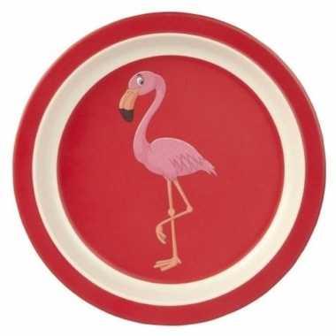 Peuterbordje bamboe met flamingo 21 cm prijs