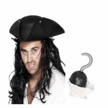 Piraten verkleed accessoires driehoekige hoed en haak prijs