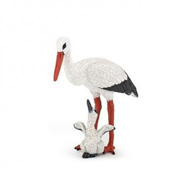 Plastic ooievaar met baby speeldiertje 7 cm prijs