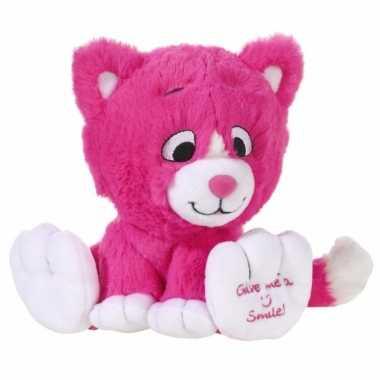Pluche roze katten knuffel 14 cm prijs