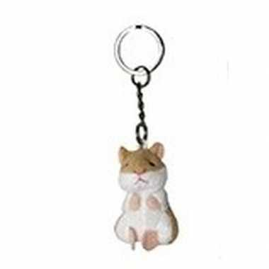 Pluche sleutelhanger hamstertje knuffel 6 cm prijs