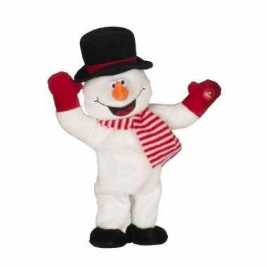 Pluche sneeuwpop met kerst muziek prijs