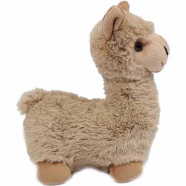 Pluche staande lama/alpaca knuffel beige 29 cm prijs