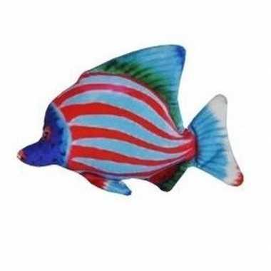 Pluche tropische vis blauw rood gestreept 25 cm prijs