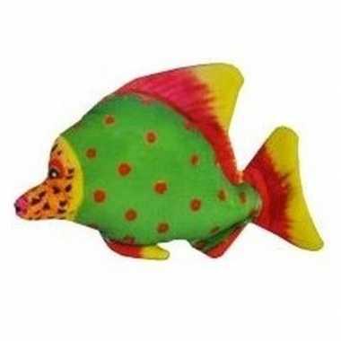 Pluche tropische vis groen met rode stippen 25 cm prijs