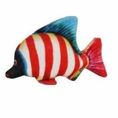 Pluche tropische vis wit rood gestreept 25 cm prijs