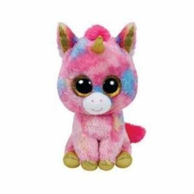 Pluche unicorn roze 15 cm prijs