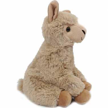Pluche zittende lama/alpaca knuffel beige 24 cm prijs