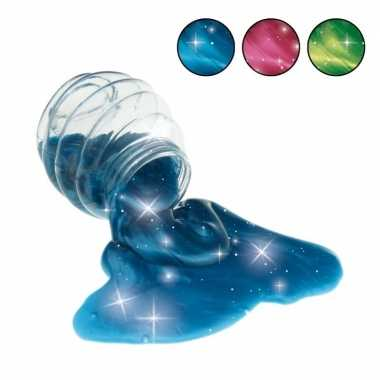 Potje met blauwe glitter slijm 120 gram prijs