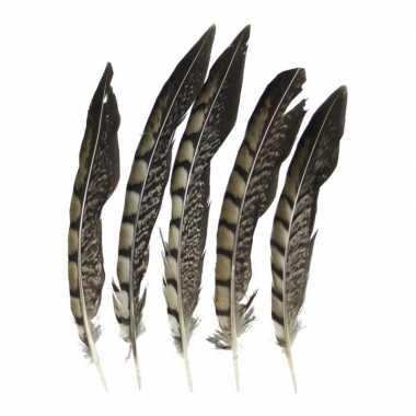 Prins carnaval fazant veren 18 cm 5 stuks prijs