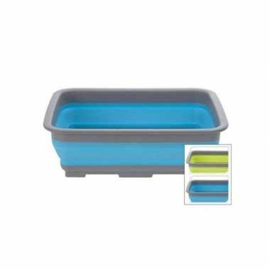 Rechthoekig opvouwbaar afwasteiltje / afwasbak lime groen 8 liter pri