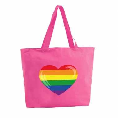 Regenboog hart boodschappentas / strandtas fuchsia roze 47 cm prijs