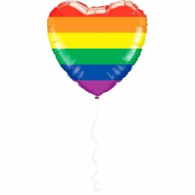 Regenboog kleuren hart folieballon 45 cm feestversiering prijs
