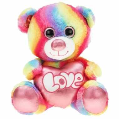 Regenboog kleuren troetelbeer knuffel 40 cm prijs