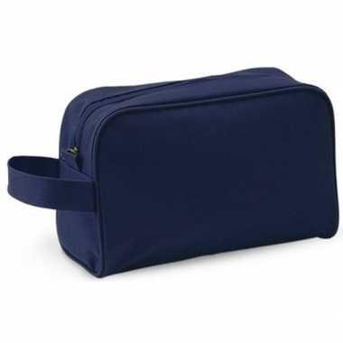 Reis toilettas/etui navy met handvat 21,5 cm voor heren/dames prijs
