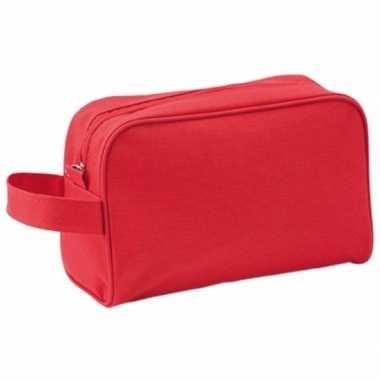 Reis toilettas/etui rood met handvat 21,5 cm voor heren/dames prijs