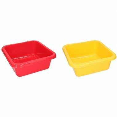 Rode en gele vierkante afwasbak 15 l prijs