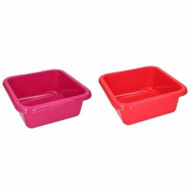 Rode en roze vierkante afwasbak 15 l prijs