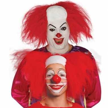 Rode horror clown pruik voor volwassenen prijs