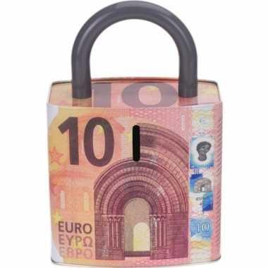 Rode spaarpot 10 euro biljet slotvorm 25 cm prijs