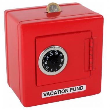 Rode spaarpot kluis 14 x 14 cm prijs