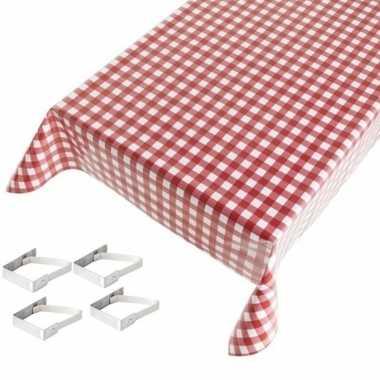 Rode tafelkleden/tafelzeilen ruiten print 140 x 170 cm rechthoekig me
