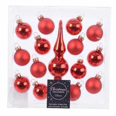 Roden kerstballen en piek set voor mini kerstboom prijs
