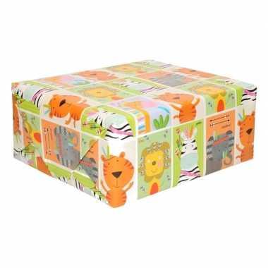 Rol kinder inpakpapier met dieren print 200 x 70 cm prijs