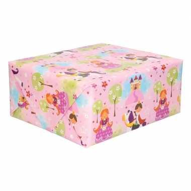 Rol kinder inpakpapier met prinsessen print 200 x 70 cm prijs