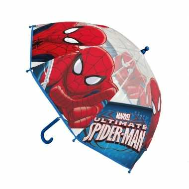 Rood/blauwe spiderman paraplu voor jongens prijs
