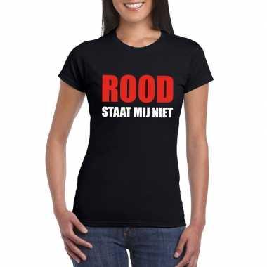 Rood staat mij niet fun t-shirt voor dames zwart prijs